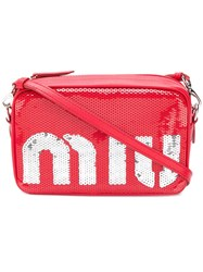 Miu Miu Sequin Shoulder Bag Red