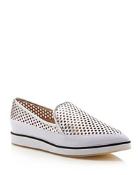French Connection Nikki Metallic Perforated Pointed Toe Flats Silver