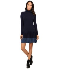 Lacoste Long Sleeve Pleated Skirt Wool Collar Dress Navy Blue Women's Dress