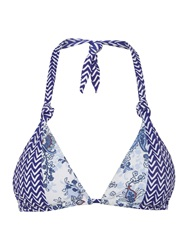 Linea Porcelain Print Triangle Bikini Top Blue Multi