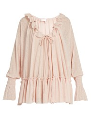See By Chloe Ruffle Trimmed Gauze Jersey Blouse Light Pink