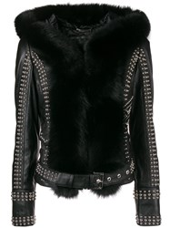 Philipp Plein Fur Trimmed Studded Biker Jacket Black