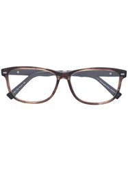 Ermenegildo Zegna Square Frame Glasses Brown
