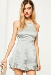 Missguided Grey Satin Frill Short Playsuit