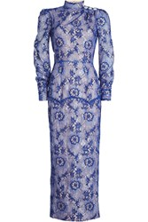 Alessandra Rich Lace Gown Blue