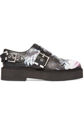 Alexander Mcqueen Printed Leather Platform Loafers Black
