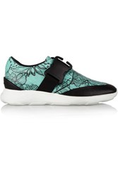 Christopher Kane Lace Print Leather Sneakers Teal