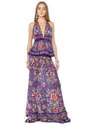Roberto Cavalli Flower Printed Silk Georgette Dress