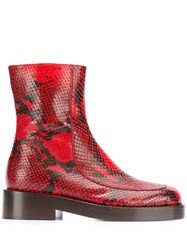 Marni Zip Up Ankle Boot Red