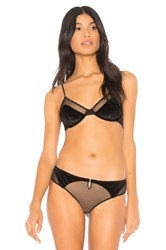 Kendall Kylie Striped Mesh And Knit Balconette Black