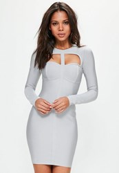 Missguided Grey Bandage Cut Out Bodycon Dress Silver