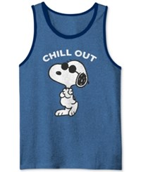Jem Men's Peanuts Snoopy Chill Graphic Print Tank Classic Blue