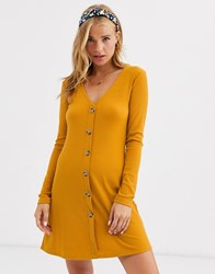 Brave Soul Skyla Rib Dress With Button Front Yellow
