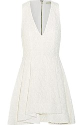Alice Olivia Tanner Beaded Embroidered Cotton Mini Dress White