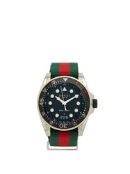 Gucci Dive Web Striped Stainless Steel Watch Multi