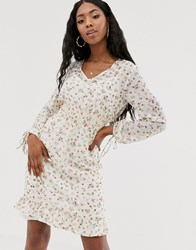 Na Kd Shirred Waist Floral Print Midi Dress In White