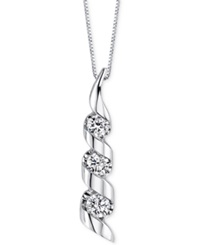 Sirena Diamond Swirled Pendant Necklace 1 8 Ct. T.W. In 14K White Gold