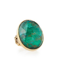Stephen Dweck Oval Cut Bronze Ring W Malachite And Quartz Doublet 6