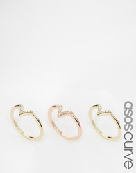Asos Curve Pack Of 3 Occasion Chevron Crystal Rings Mixedmetal