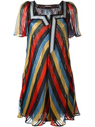 Marco De Vincenzo Sequin Stripe Flared Dress Multicolour