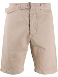 Officine Generale Belted Chino Shorts Neutrals