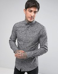 Noose And Monkey Skinny Smart Shirt In Crosshatch Print Grey