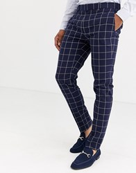 Topman Super Skinny Suit Trousers In Navy Check Green