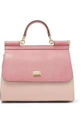 Dolce And Gabbana Sicily Medium Lizard Effect Leather Tote Pink