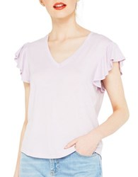 Miss Selfridge Lilac V Neck Frill Sleeve Tee Purple