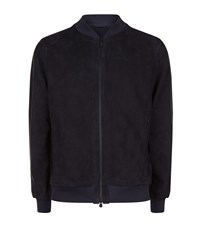 Z Zegna Perforated Suede Bomber Jacket Male Navy