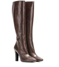 Saint Laurent Embossed Leather Knee Boots Brown