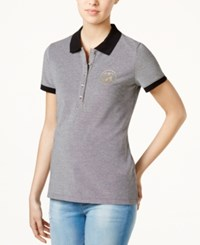 Tommy Hilfiger Cotton Polo Top Only At Macy's Black Ivory