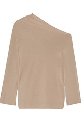 The Row Nandac Off The Shoulder Pima Cotton And Silk Blend Sweater Mushroom
