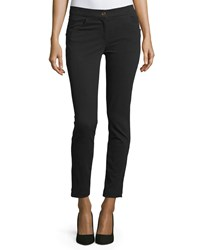 Brunello Cucinelli Ankle Length Cotton Stretch Leggings Black