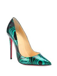 Christian Louboutin Printed Patent Leather Point Toe Pumps Green