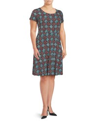 Michael Michael Kors Plus Printed Cap Sleeve Fit And Flare Dress Turquoise Multi
