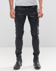 Asos Super Skinny Jeans In Coated With Biker Styling And Zip Detail Black