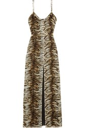 Saint Laurent Tiger Print Silk Georgette Gown Bronze