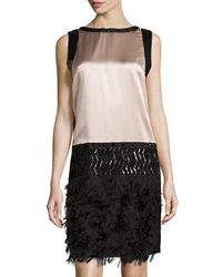 Philosophy Di Alberta Ferretti Sequined Fringed Silk Dress Blush Black