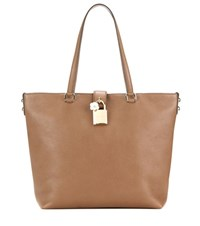 Dolce And Gabbana Large Leather Shopper Brown