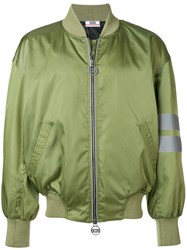 Gcds Logo Embroidered Bomber Jacket Green