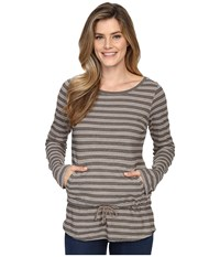Royal Robbins Breeze Thru Stripe Cover Top Light Taupe Women's Long Sleeve Pullover