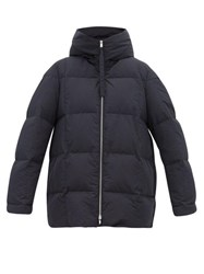 Jil Sander City Quilted Down Hooded Coat Navy