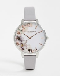 Olivia Burton Ob16pp32 Watercolour Florals Leather Watch Grey