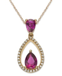 Macy's 10K Rose Gold Over Sterling Silver Necklace Ruby 1 1 3 Ct. T.W. And Diamond 1 8 Ct. T.W. Drop Pendant