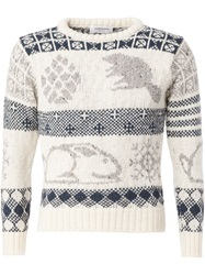 Thom Browne Animal Intarsia Sweater White