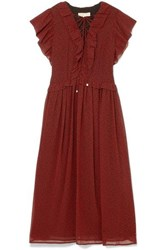 Michael Michael Kors Ruffled Printed Chiffon Midi Dress Burgundy