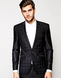 Vito Tonal Check Suit Jacket In Slim Fit Black