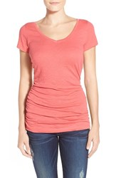 Women's Caslon Shirred V Neck Tee Red Chateaux