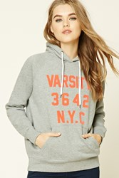Forever 21 Varsity Nyc Fleece Hoodie Heather Grey Orange